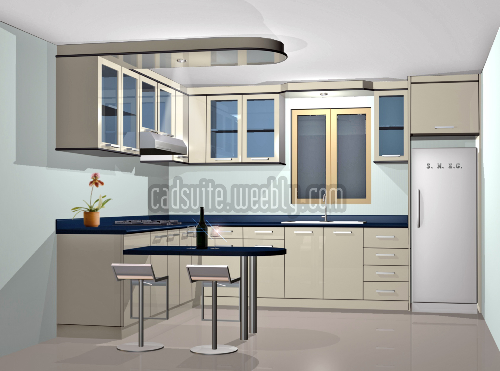 L  Type Contemporary Kitchen 3D RENDERINGS