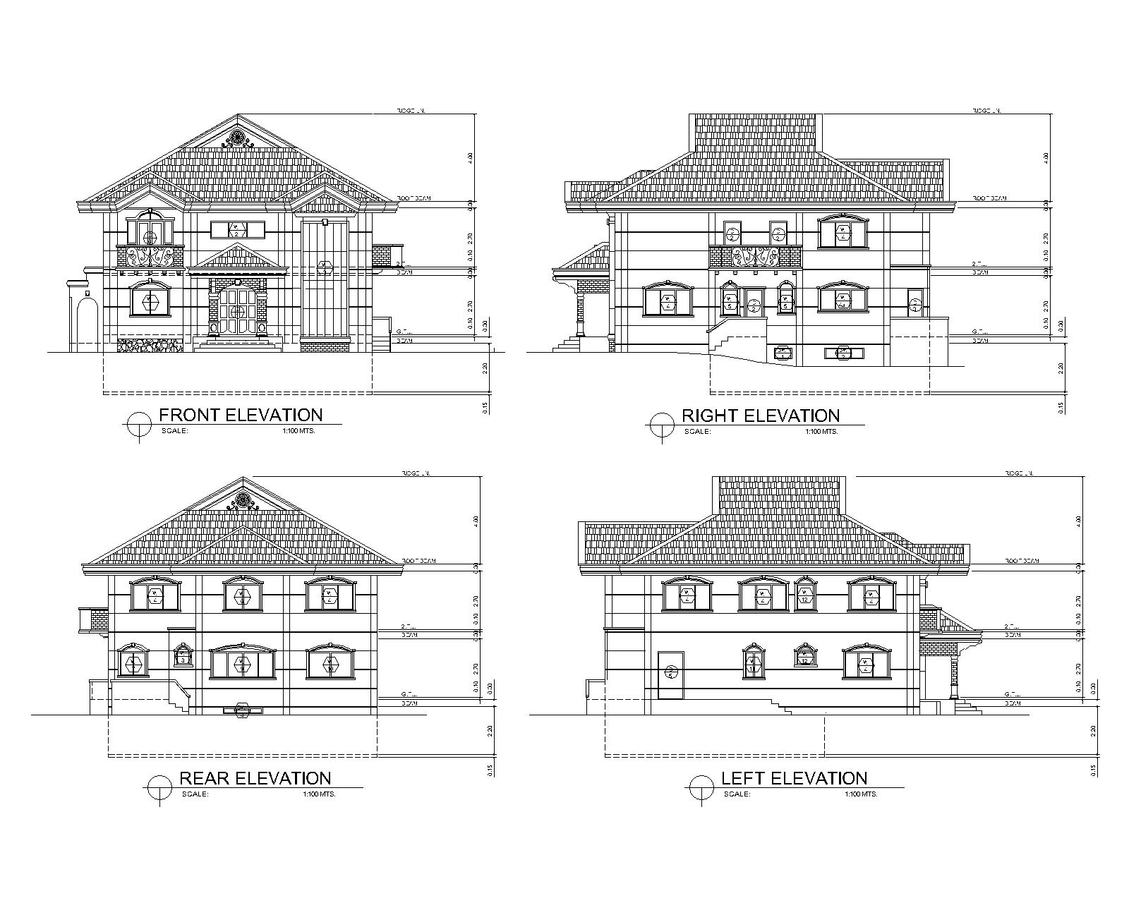 2d cad drawings for Two storey house design with floor plan with elevation